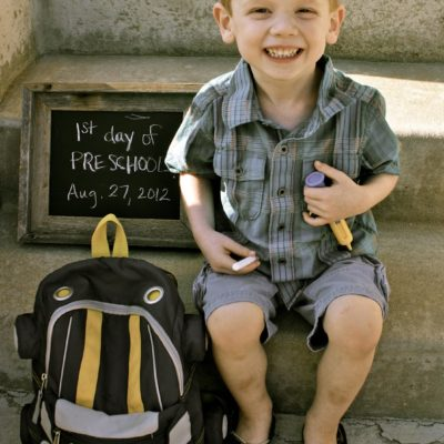 First Day of School Photo & Chalkboard Prop