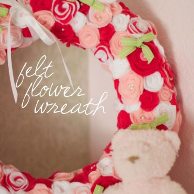Nursery DIY: felt flower wreath and pink baby shower