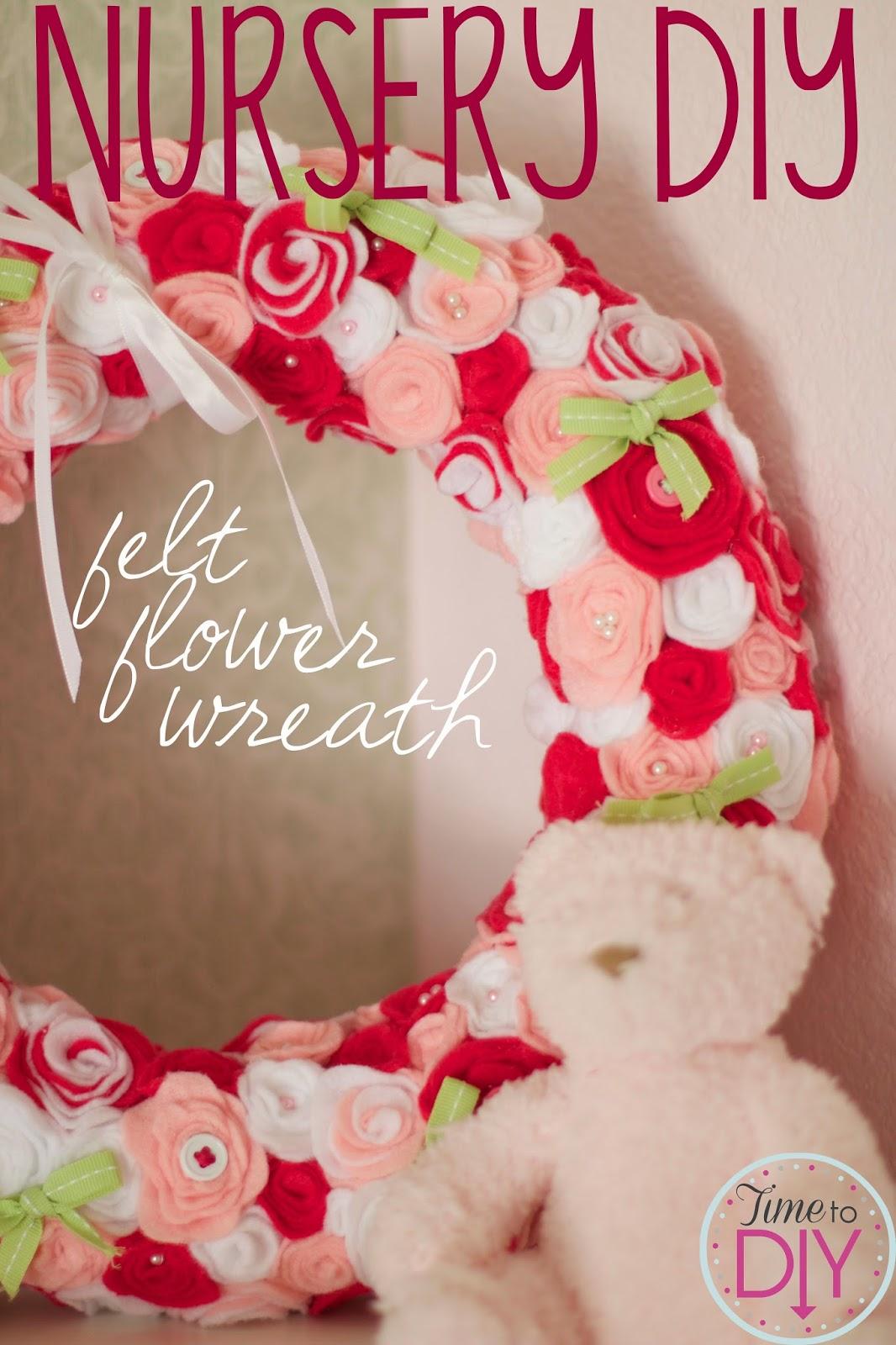 Nursery DIY: felt flower wreath and pink baby shower