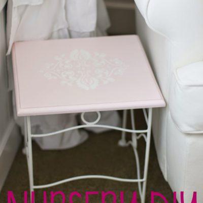 Nursery DIY: Stenciled Side Table