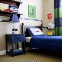 Cars and trains boys room with a magnetic road