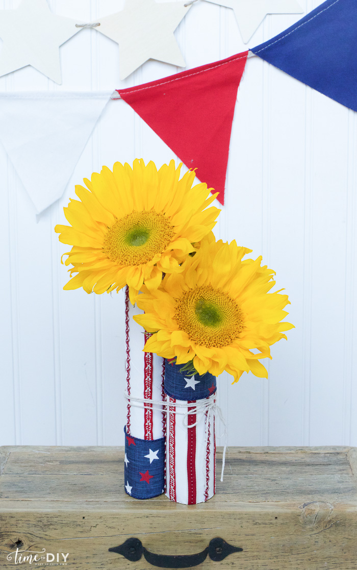 patriotic centerpiece with flags