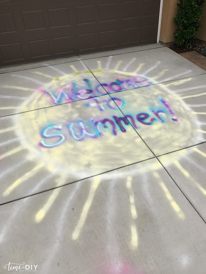 Outdoor Spray Chalk Painting