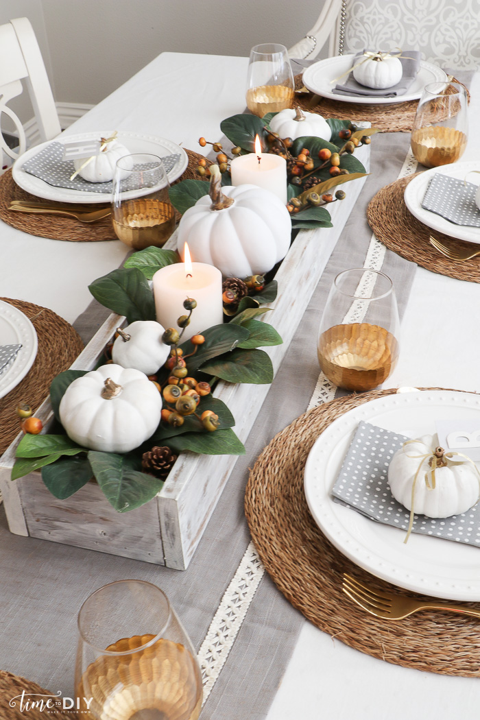 Natural Fall Tablescape with Greenery