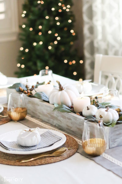Neutral Gray Thanksgiving Tablescape