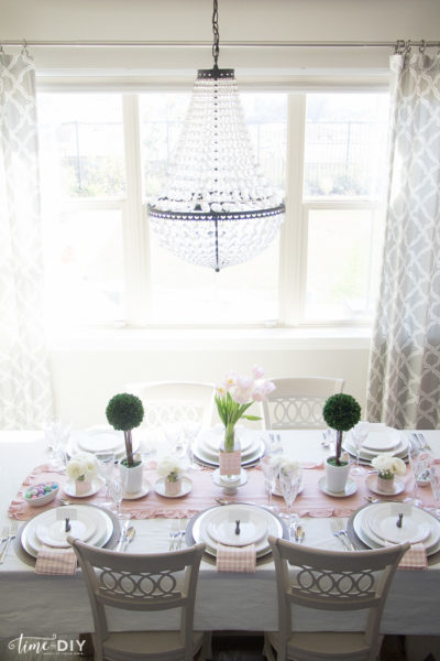 Pink and white spring tablescape