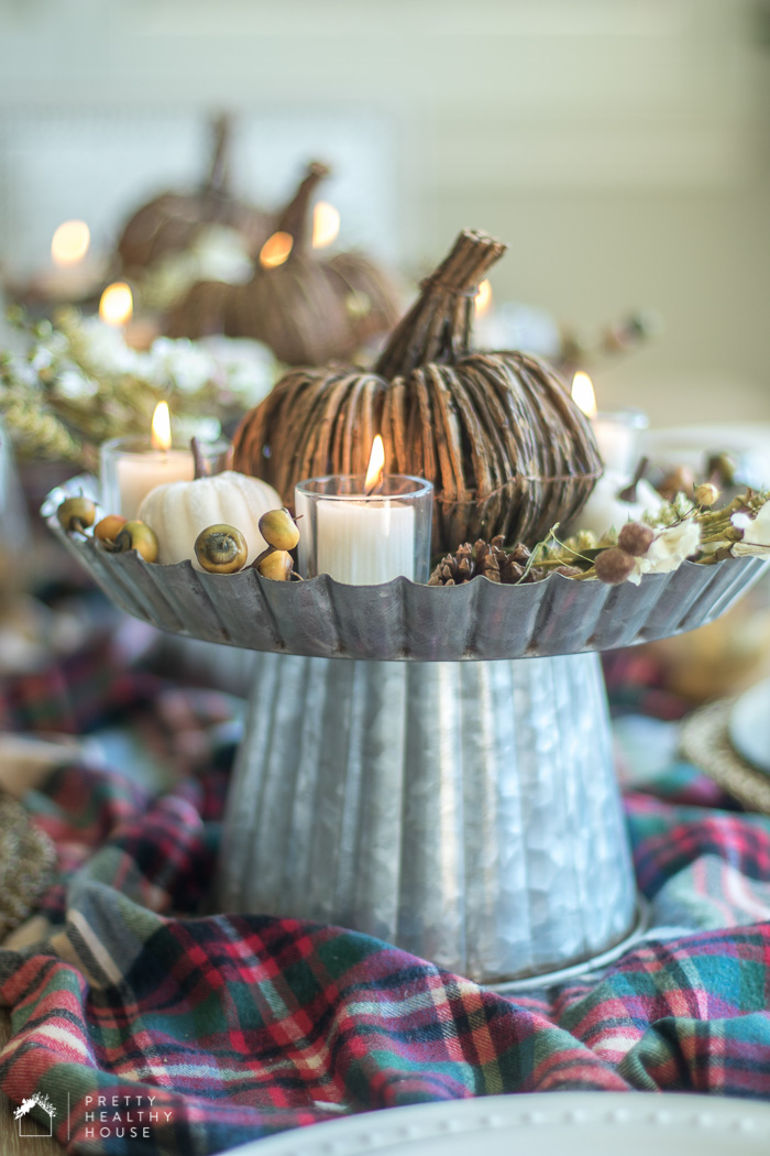 Rustic and Plaid Fall Tablescape