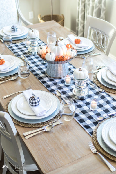 Black, White, and Orange Fall Table Decorations
