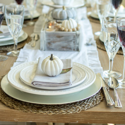 Neutral Gray and White Fall Tablescape