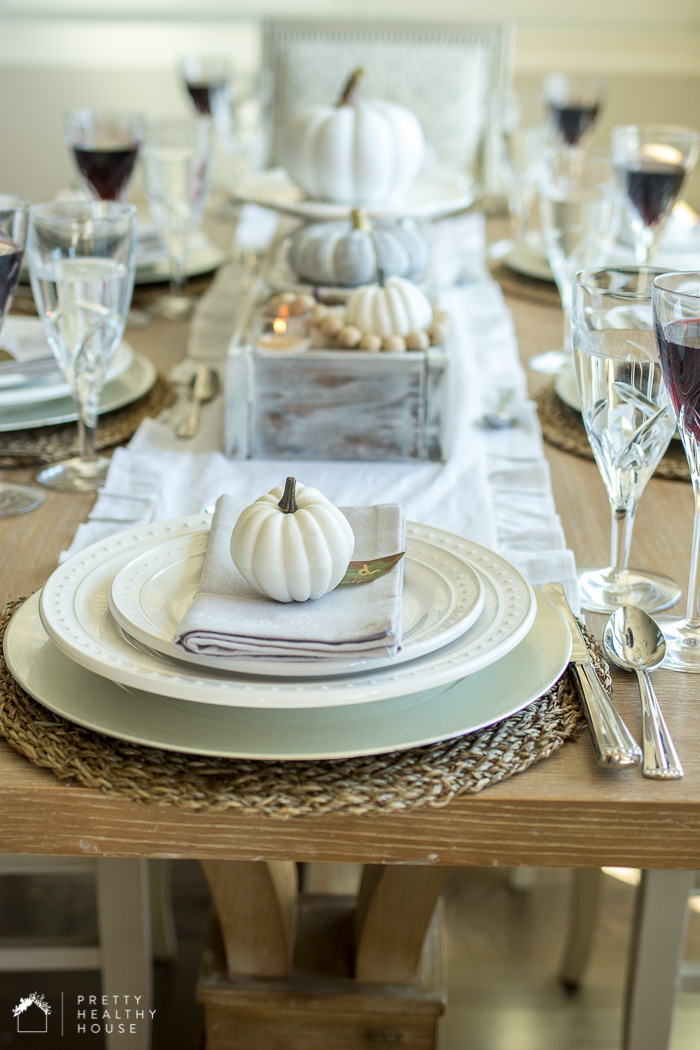 Gray and White Fall Tablescape