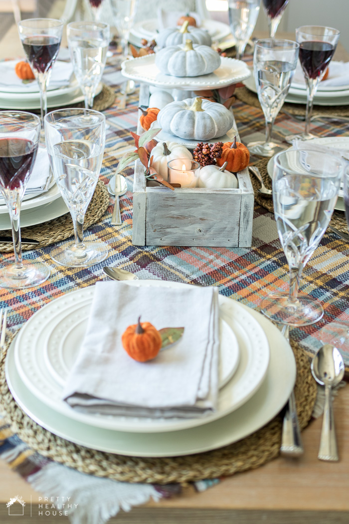 Gray Orange and Plaid Fall Tablescape