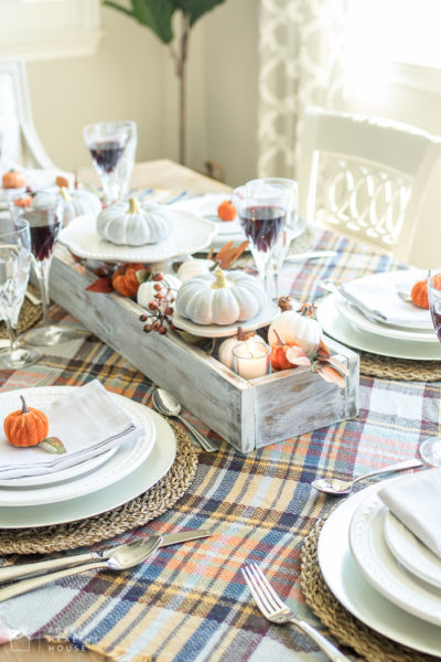Decorate Your Thanksgiving Table with Gray and Plaid